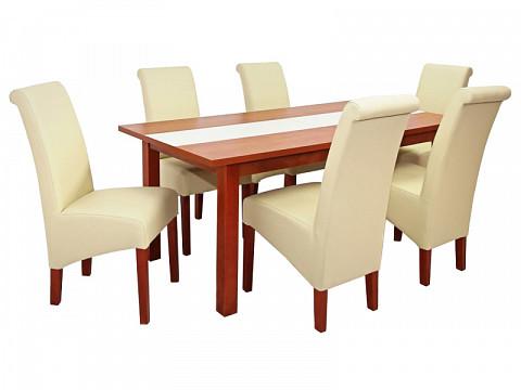 6 személyes étkező garnitúra fa székkel